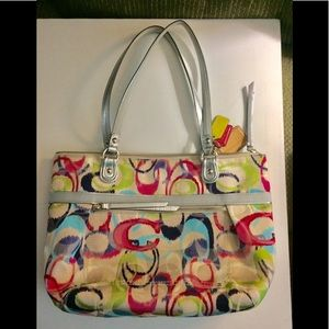 Coach Poppy IKat Small Tote Bag #19877 Preowned
